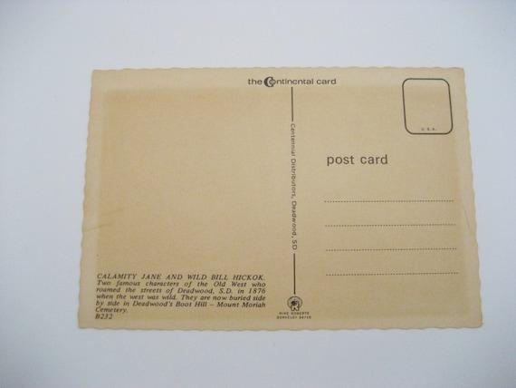 Gunslingers Postcard Calamity Jane and Wild Bill Hickok Postcard South  Dakota Postcard Paper Ephemera Unused Vintage Postcard