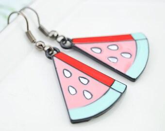 Watermelon earrings - earrings fruits - red earrings - funky - costume jewelery - BO rockabilly - neon - Tropical