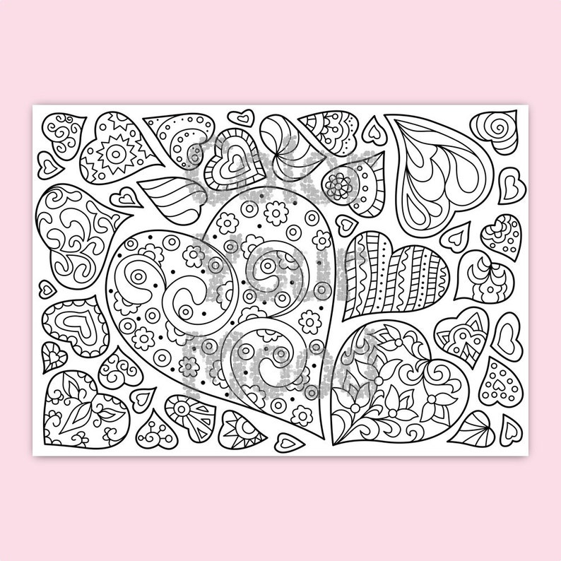 Printable: Valentine's hearts coloring pages vector PDF | Etsy