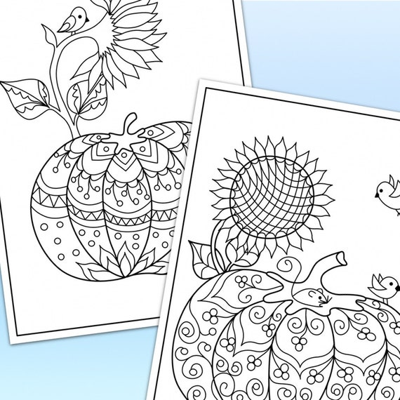 Calabazas y girasoles para imprimir páginas para colorear