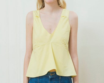 vintage yellow marni cotton top small | yellow flutter blouse | sleeveless yellow crop top | yellow peplum top | 1990s | 90s