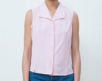 a360aaa215df3 90s pink silky sleeveless blouse small