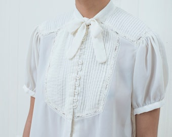 247595f0116a27 90s sheer white lace blouse