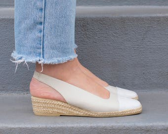 a0372e1f9 70s white espadrilles 8 | ivory leather espadrille wedges | wedge heel  espadrille | andre assous off white wedges | spectator shoes