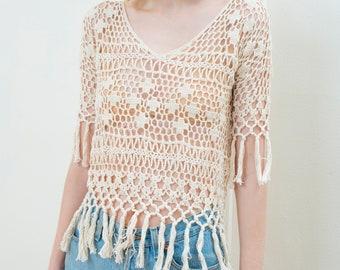 ea9b21d6ba 90s cream crochet fringe top medium   hippie crop top   ivory sheer cotton  tunic   white boho festival top   bohemian knit beach cover up