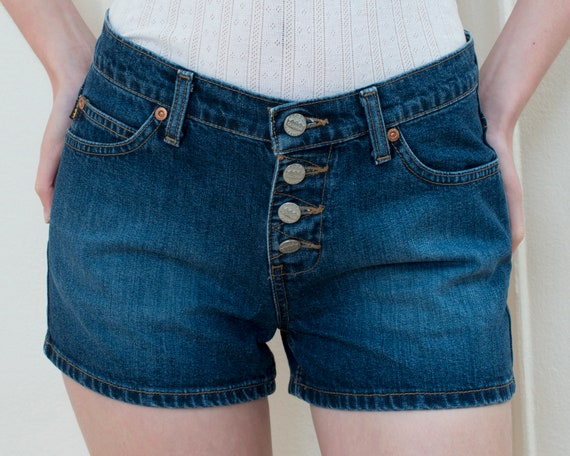 90s small jean shorts | todd oldham dark wash jean