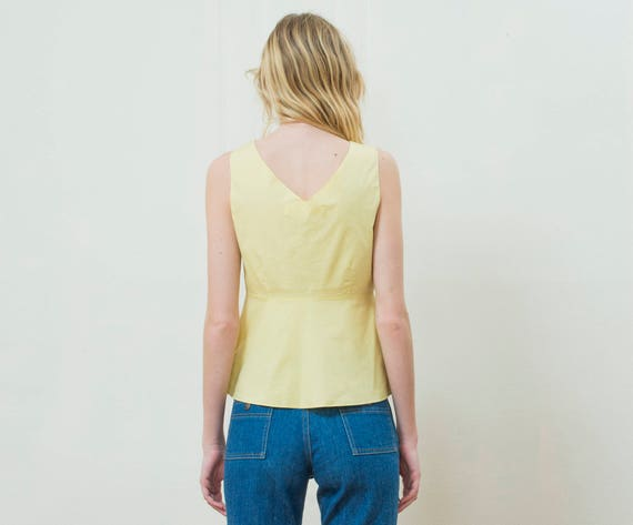 yellow marni blouse small | 90s yellow cotton pep… - image 3