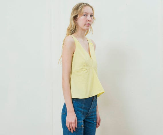 yellow marni blouse small | 90s yellow cotton pep… - image 2