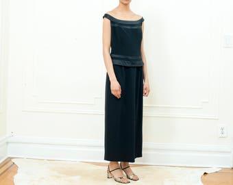 vintage black maxi dress | black long satin dress | black tie maxi dress | jones black tiered off shoulder long dress | large | 1990s | 90s