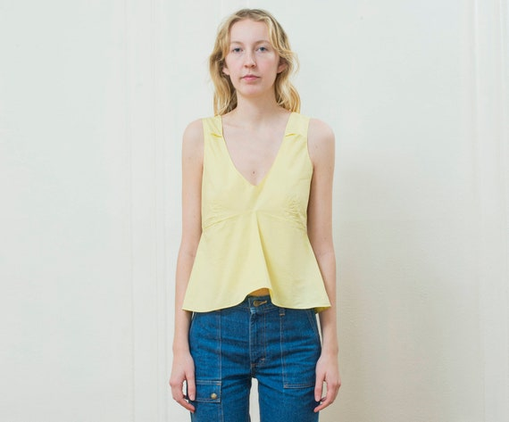 yellow marni blouse small | 90s yellow cotton pep… - image 1