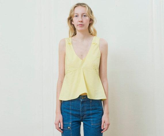 yellow marni blouse small | 90s yellow cotton pepl