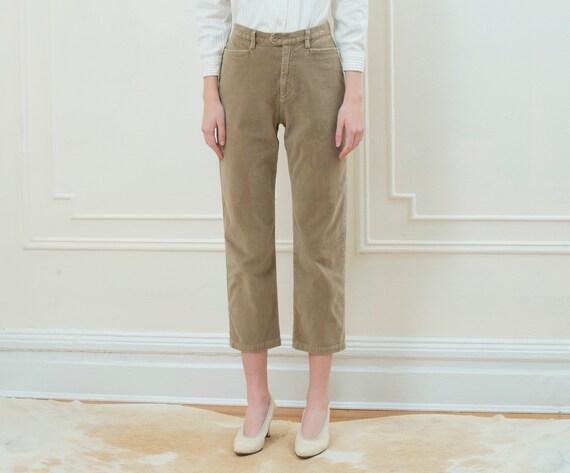90s tan velvet pants medium petite | high waisted