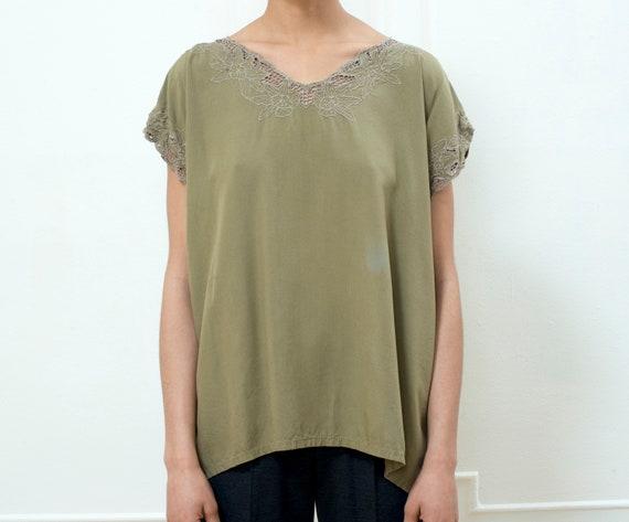 olive eyelet lace shirt | brown eyelet beach top |