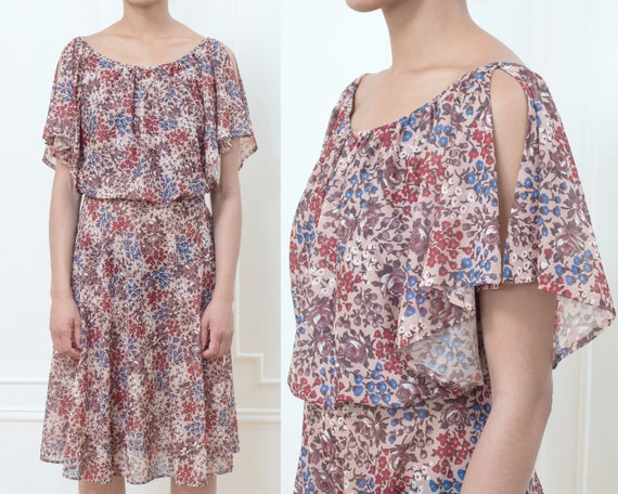 1970/'s Floral Brown Midi Fit and Flare Vintage Hippie Bohemian Dress