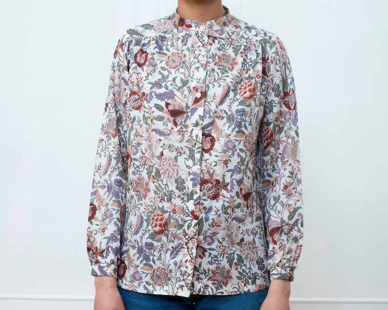eb212ab5 70s floral blouse medium dusty rose button down shirt boho | Etsy