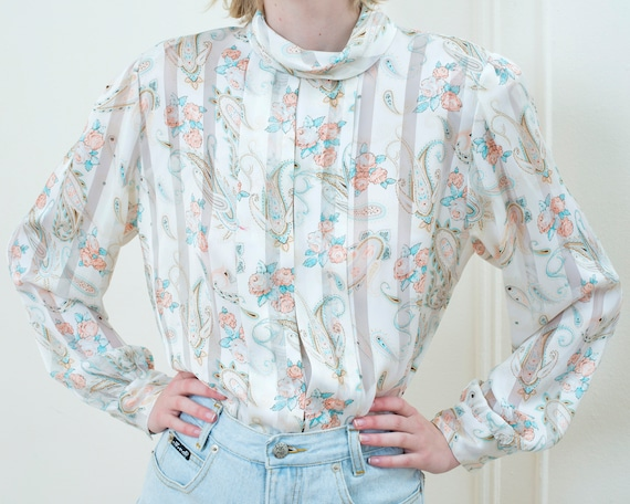 80s white paisley blouse | silky printed high neck