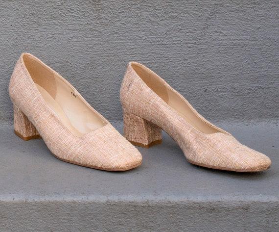 jones heel low tan 1990s high pink tweed pumps heels 36 shoes 5 block 5 york tweed heels vintage new 6 90s toe heel square 7vR8qqnB