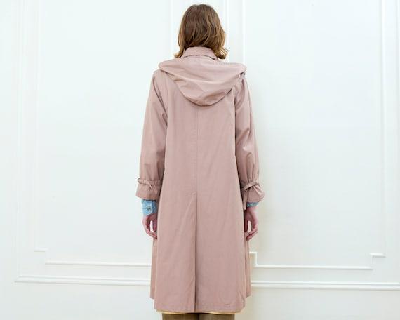 70s pink hooded trench coat   medium blush light … - image 5