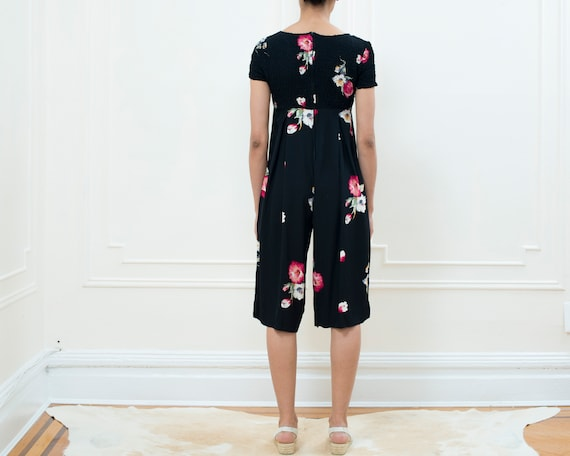 petite jumpsuit floral 80s stretch onesie tulip small black romper black 1980s jump red print suit flower floral printed vintage 5z6ZIUqWY6