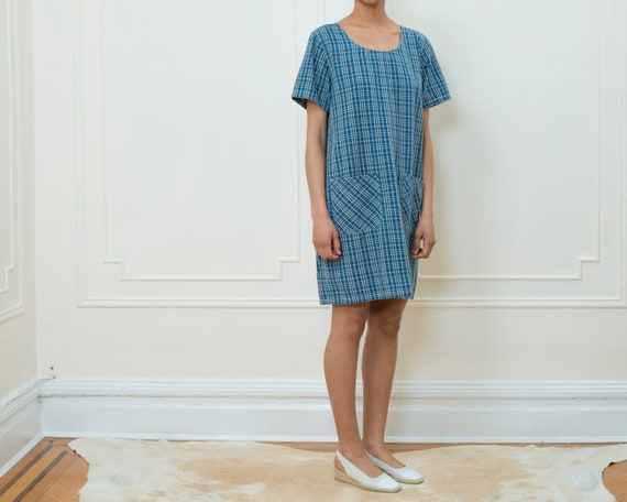 sleeve plaid blue grunge dress dress short plaid cotton blue dress 1990s festival vintage blue mini 90s check dress medium dress wOnvqZT7