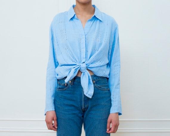 blue linen blouse large | light blue cotton linen
