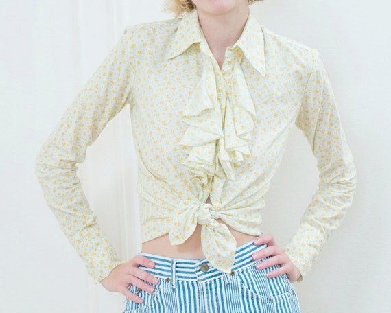 70s yellow floral ruffle blouse   flower print ruf