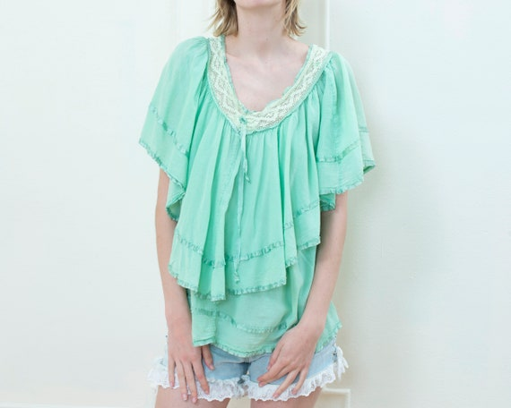 90s mint green ruffle blouse | lace collar tiered