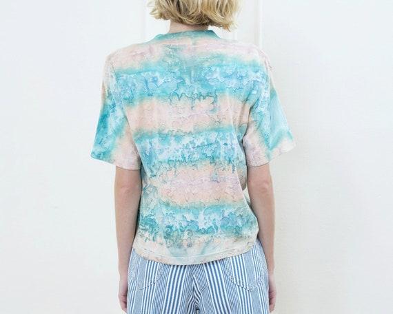 80s tie dye tshirt | pink blue tie dye striped ts… - image 5