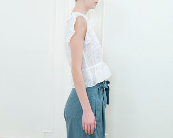 90s white striped sheer cotton ruffle blouse | sm… - image 5
