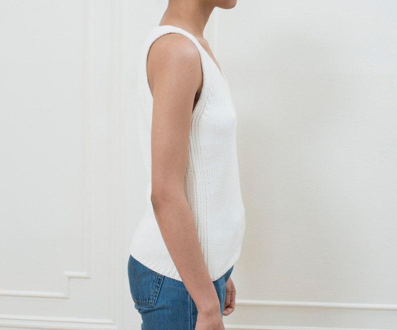 0c91833f2c845 90s white knit tank top medium minimalist cream cotton knit