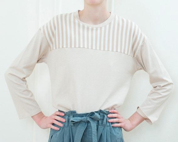 90s tan white breton cotton tshirt top | beige str