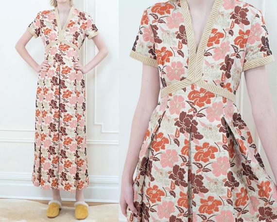 70s orange gown | gold metallic evening dress | fl