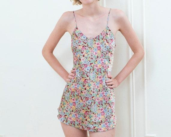 90s grunge rainbow floral mini slip dress - image 3