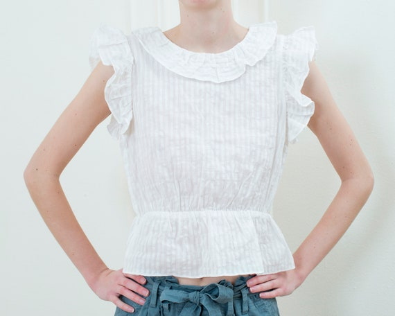 90s white striped sheer cotton ruffle blouse | sma