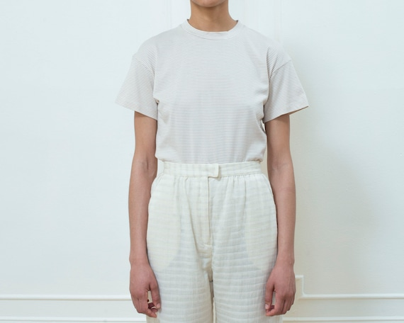 90s tan striped tshirt