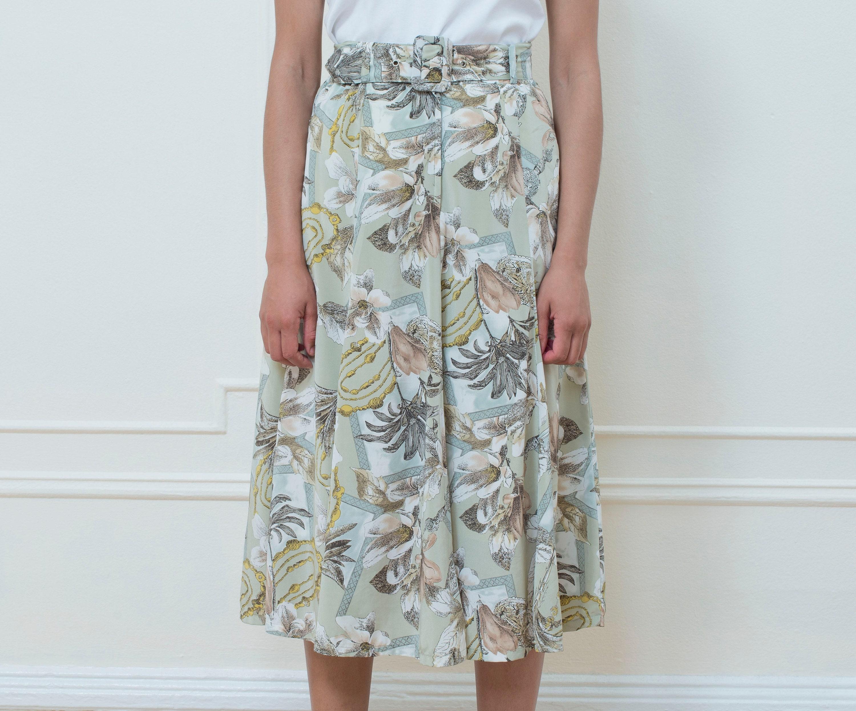 08eb8cc4737 80s green floral midi skirt medium flower print circle skirt