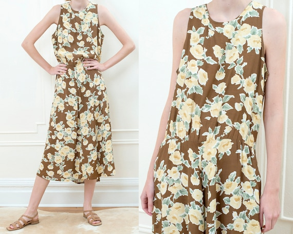 90s brown floral maxi slip dress | flower print lo