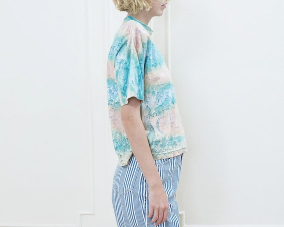 80s tie dye tshirt | pink blue tie dye striped ts… - image 4