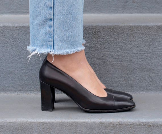shoes 37 square minimal heels pump toe 5 spectator 5 1990s high black 90s vintage black black pumps black leather 7 bally n0BPnwTq6