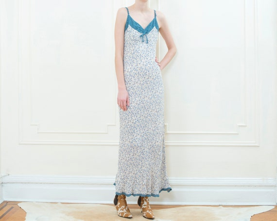 90s blue floral print maxi dress | tan flower prin