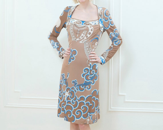 80s emilio pucci brown printed dress | slinky psyc