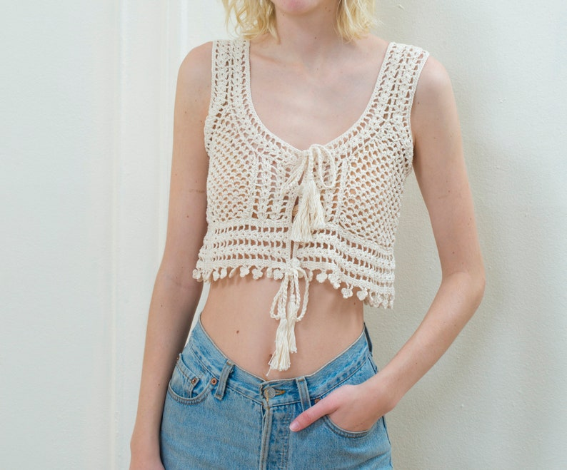 60d2f1c673360 90s ivory crochet hippie crop top vest medium cream lace up