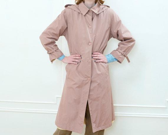 70s pink hooded trench coat   medium blush light … - image 6