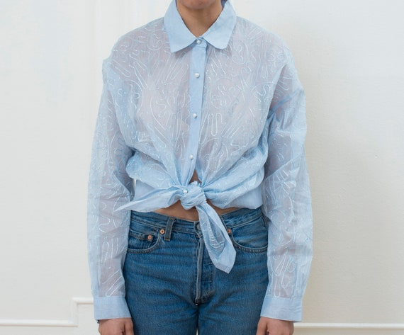 blue sheer blouse xl | 80s baby blue button down o