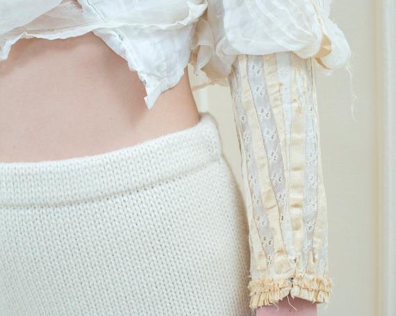 ribbon trim high neck blouse edwardian cream ivory blouse xxs xs rare antique white cotton lace top leg of mutton sleeve costume blouse