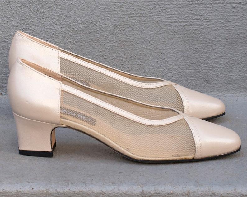 7c93baa2af6 90s beige leather van eli pumps 6.5   mesh cut out block heel shoes    minimal taupe low heel pumps   minimalist sheer wedding shoes