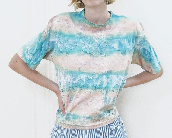 80s tie dye tshirt | pink blue tie dye striped ts… - image 2