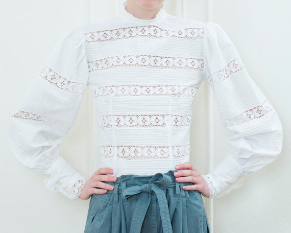 1970s white cotton pintuck crochet lace blouse | b