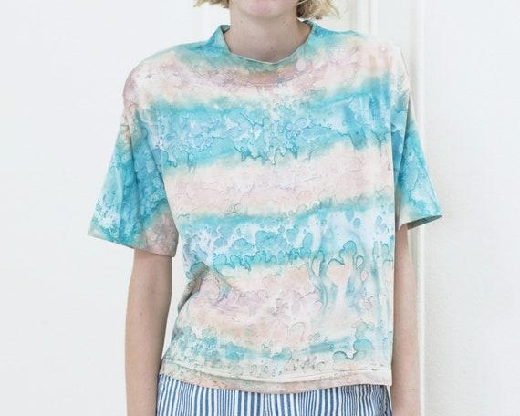 80s tie dye tshirt | pink blue tie dye striped ts… - image 6