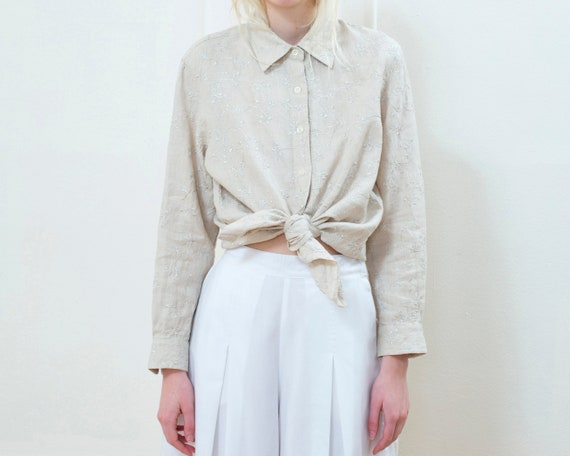 flax linen blouse | beige floral embroidered linen